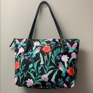 KATE SPADE NEW YORK FLORAL ZIPPERED TOTE FABRIC